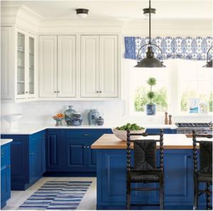 kitchen-design-in-alpharetta-ga-cobalt-blue-base-cabinets-ivory-top-cabinets-butcher-block-island